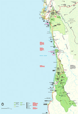 map of the northern redwood parks